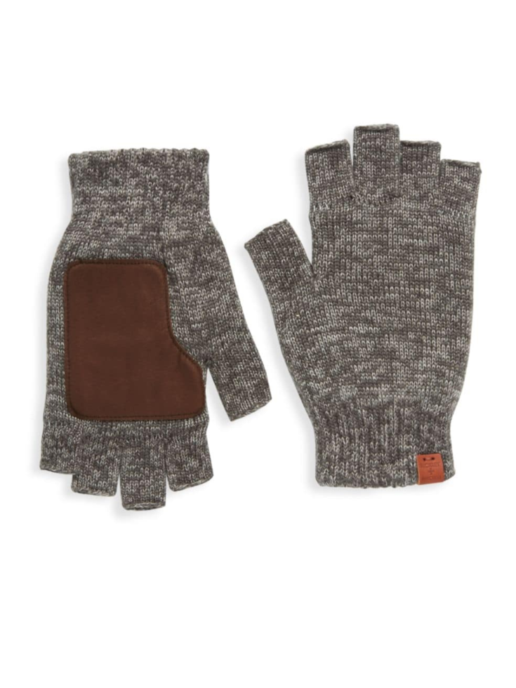 Bickley + Mitchell Leather Patch Wool Fingerless Gloves