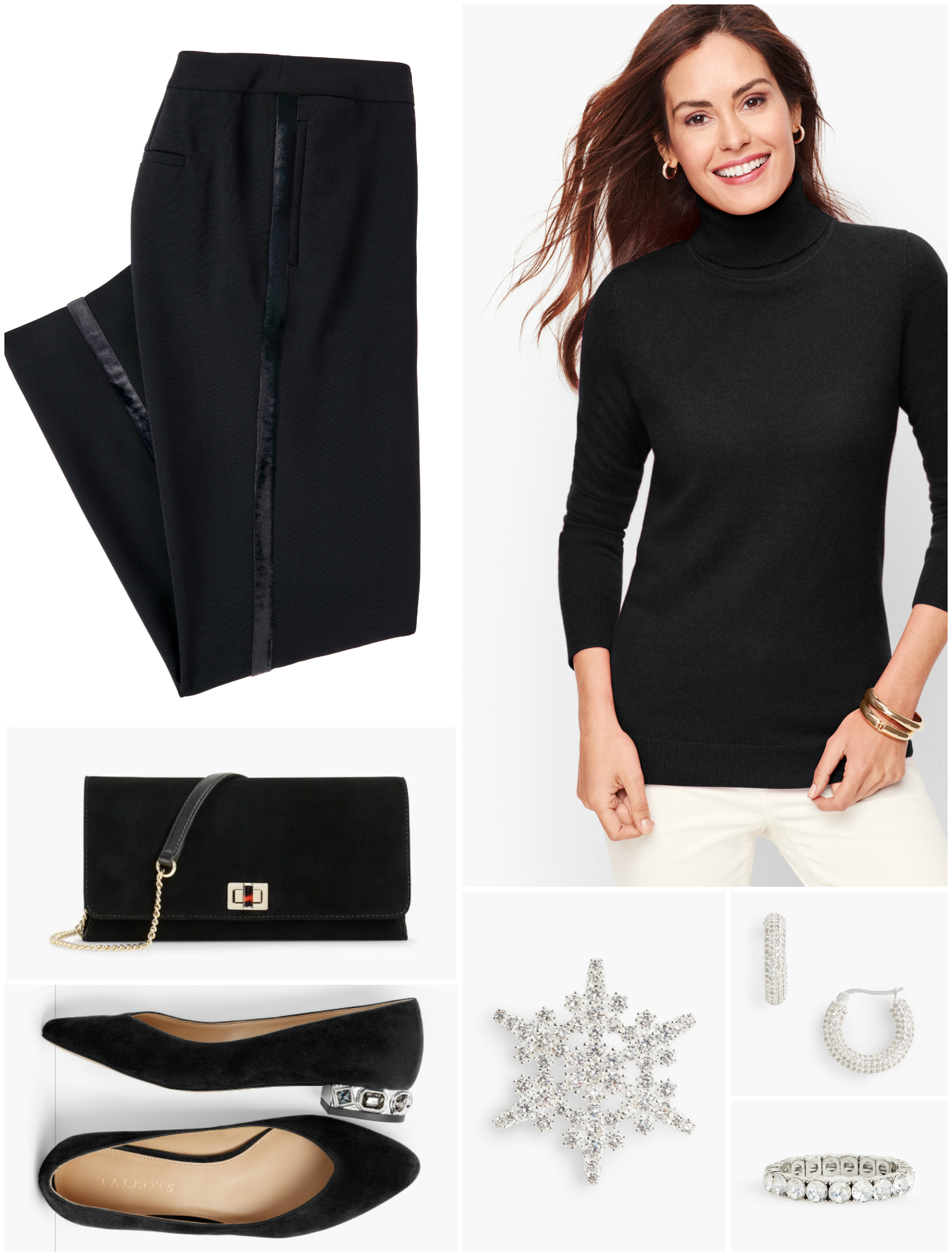 The same tuxedo trousers, now perfect for a more casual party when paired with embellished flats and a cashmere turtleneck. It's a luxe Audrey Hepburn-inspired look.