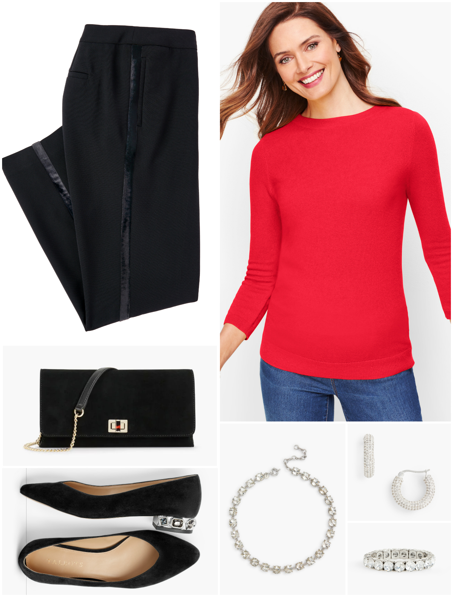 By pairing the tuxedo trousers with a cheery red cashmere crewneck, the look is reduced in formality but not in elegance.