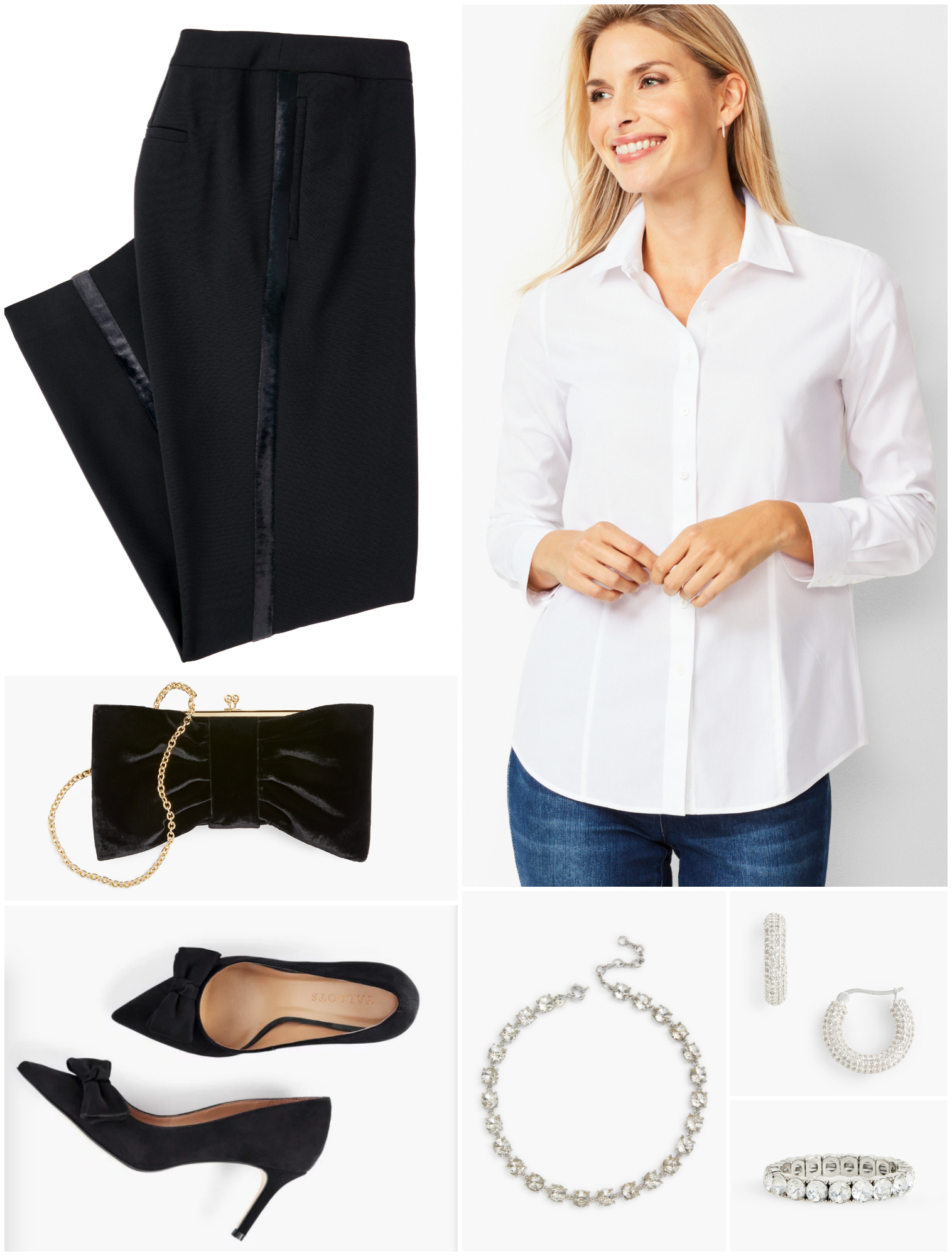 There is nothing more classic than a crisp white shirt.  Cuff the sleeves, pop the collar, and add plenty of sparkle and a pair of heels to keep it from looking like a uniform.