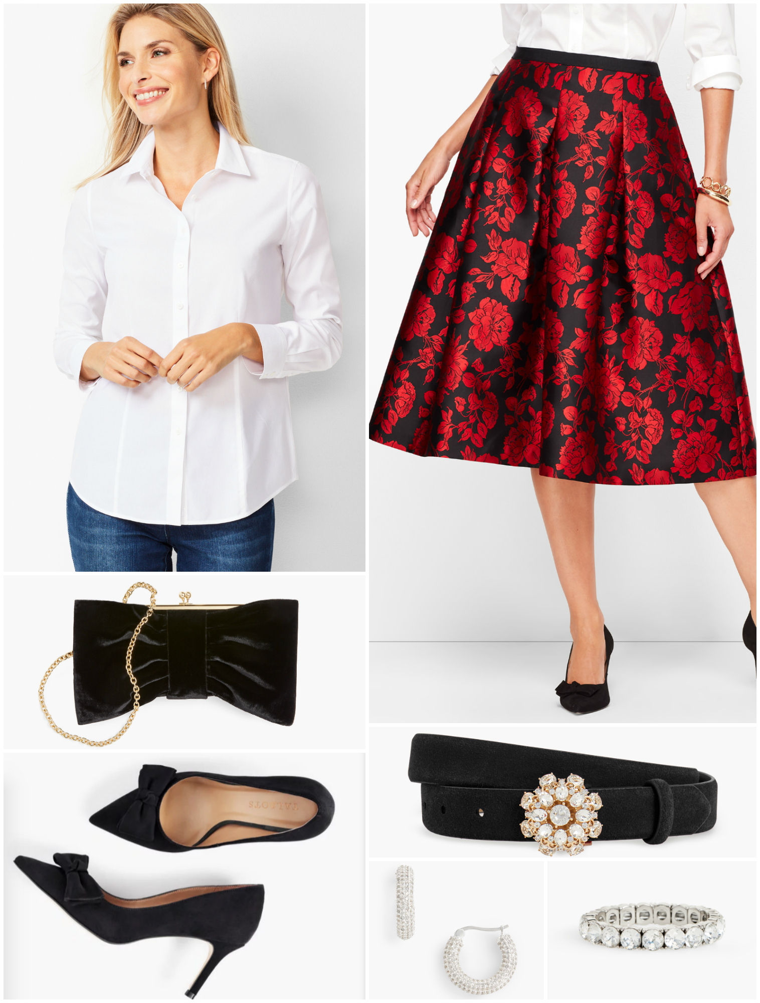 Adding a belt to the floral jacquard skirt and crisp white shirt pulls the two pieces together and highlights the waist.  Consider cuffing the sleeves and popping the collar to give a relaxed vibe.