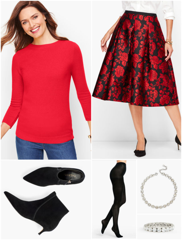With opaque black tights and sleek suede ankle booties in the same color, a festive skirt remains formal while providing warmth.