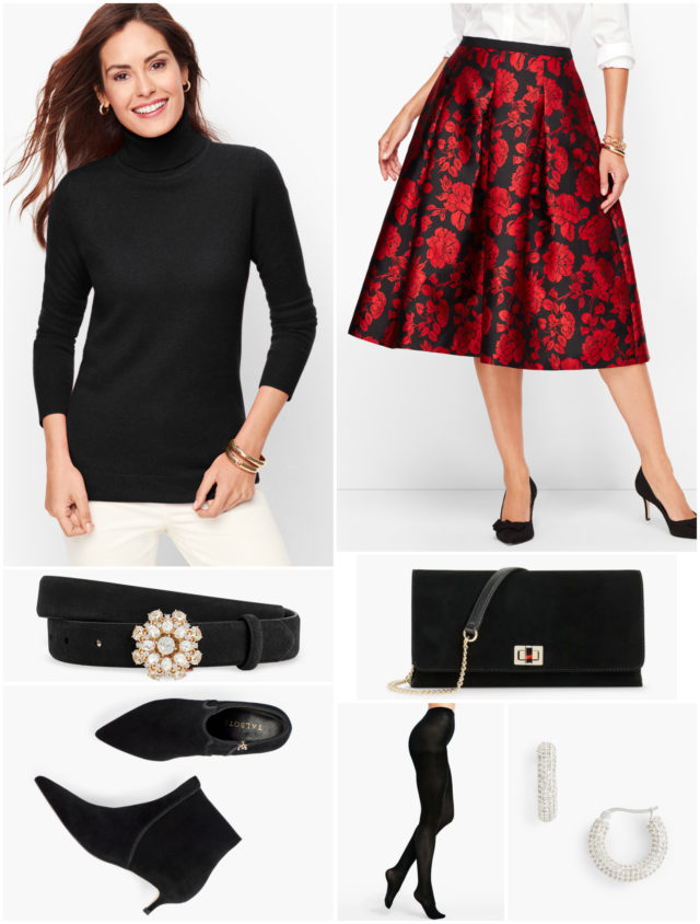 By switching out the red sweater for a black turtleneck, the look is both warmer and more formal, perfect for midnight mass or a happy hour that may drift out to a patio.