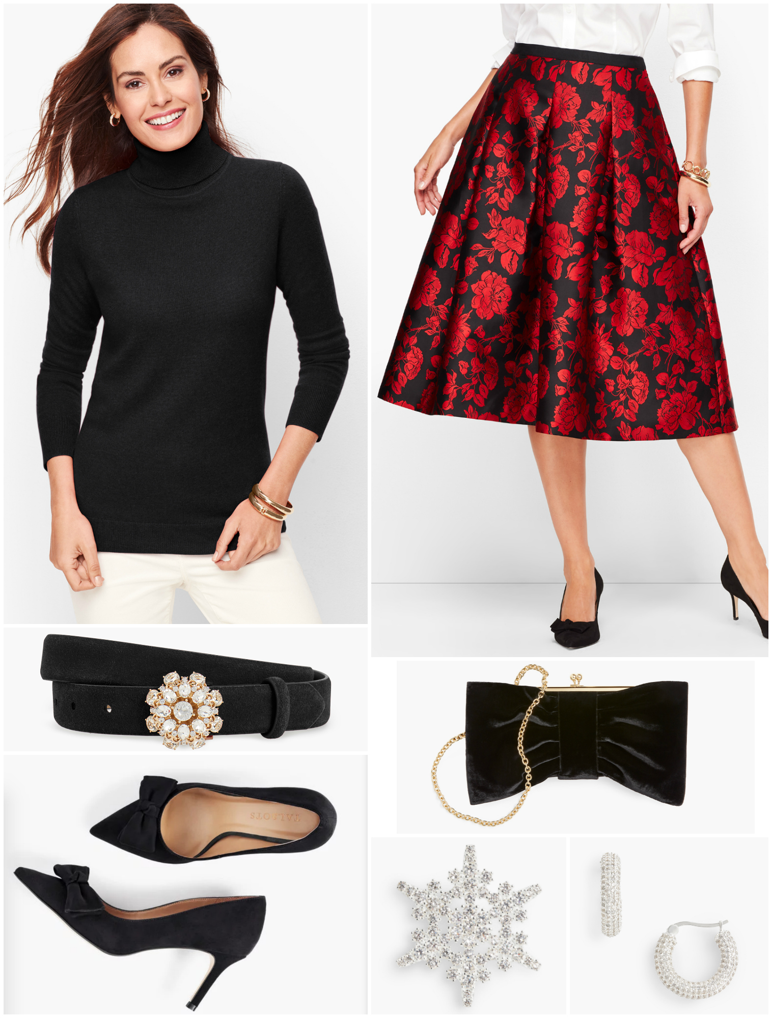 Removing the tights and adding heels, the same ensemble feels more fun and festive.