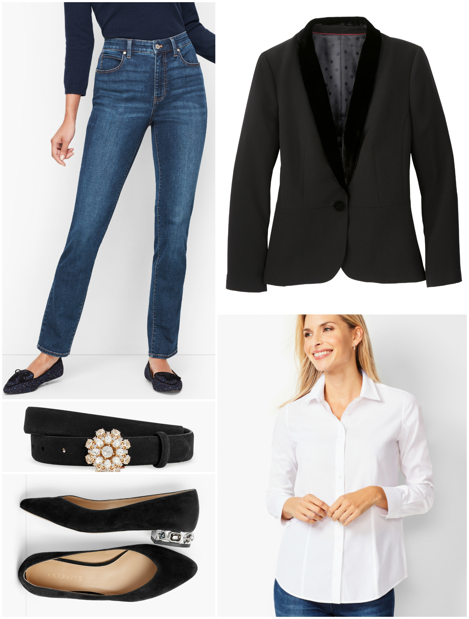 Jeans are a great piece for any capsule wardrobe, even one for the holidays.  It tones down a tuxedo jacket to feel just right for a company holiday happy hour or cocktails at a neighbor's home.