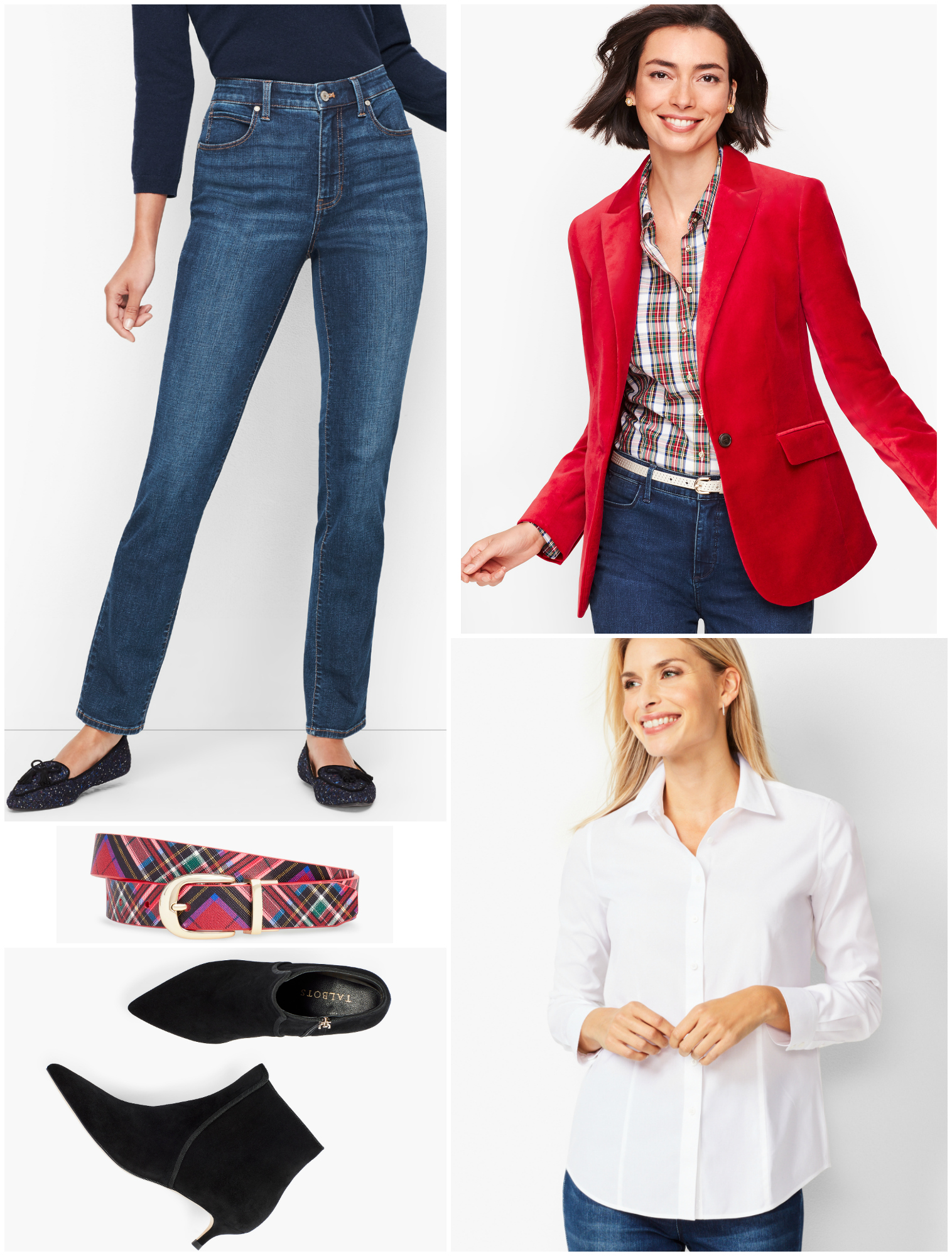 Switch out the tuxedo jacket for a red velvet blazer and use more casual accessories for a festive weekend or Casual Friday look.