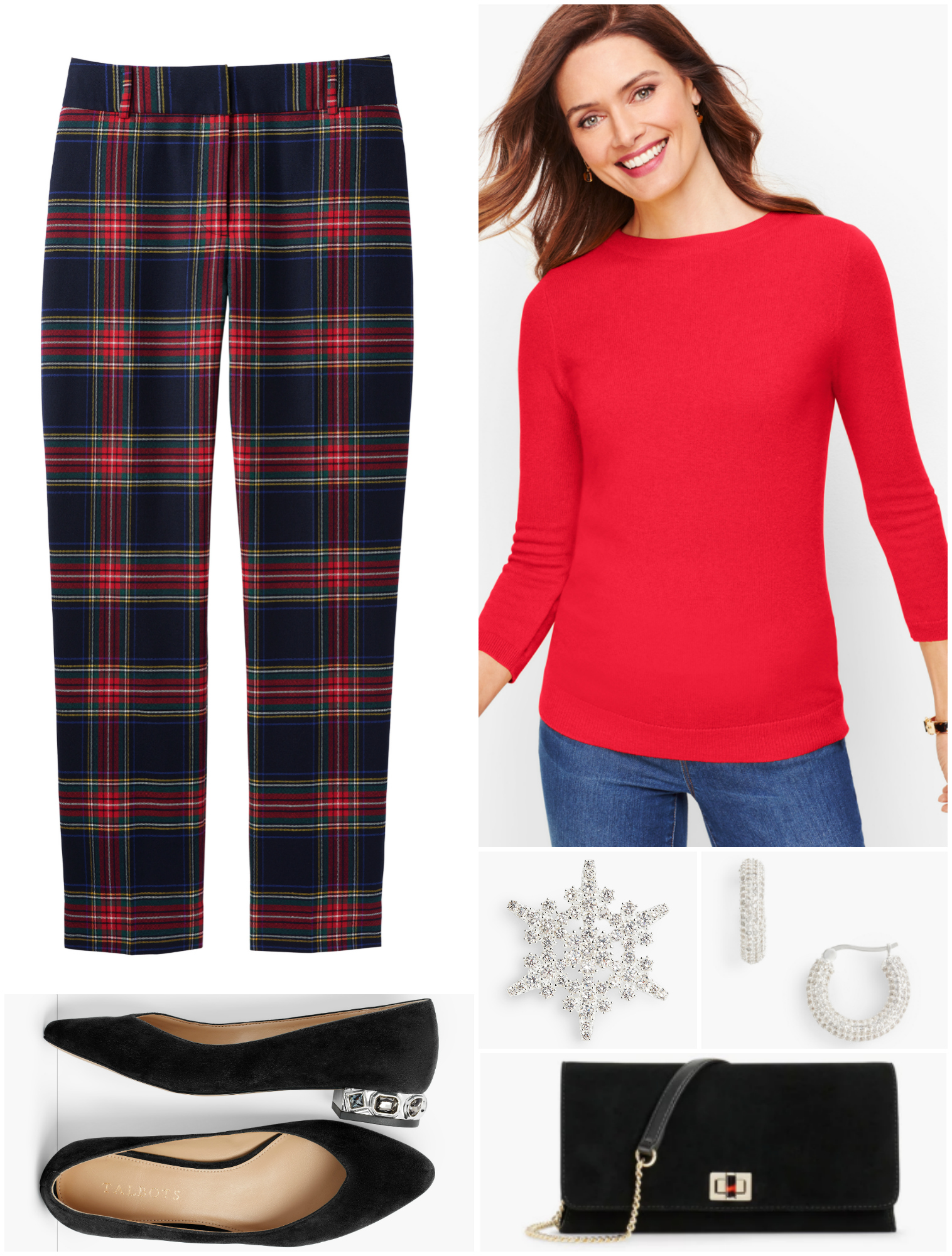 By switching to a red sweater and flats, the look is more relaxed while being more festive.  A snowflake-shaped crystal brooch creates a winter holiday feel