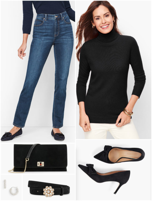 "Who says you need to wear a ""holiday"" color to look festive? Just by adding glam accessories to this classic ensemble of jeans and a cashmere turtleneck, this outfit is perfect for the season!"