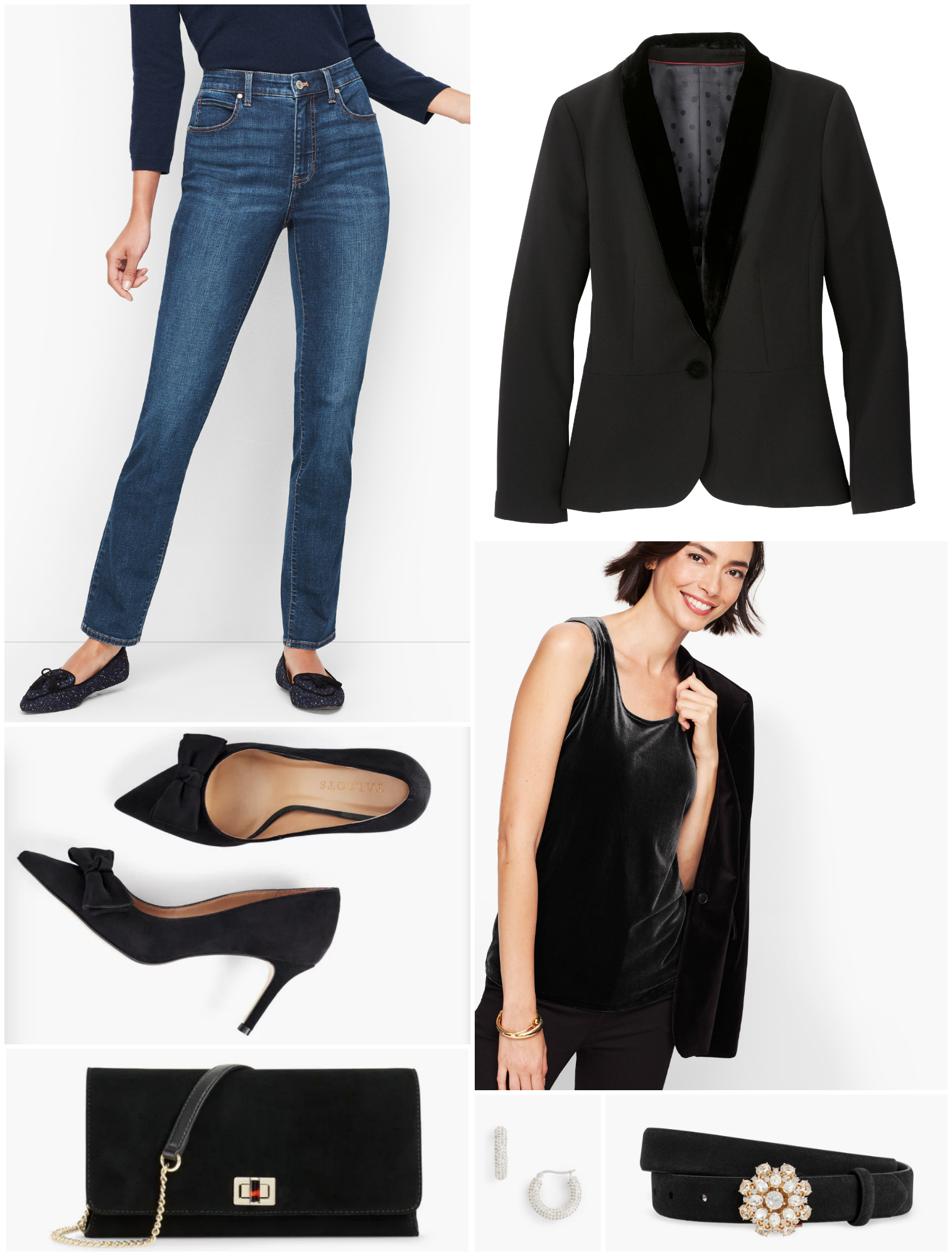 There's nothing chicer than pairing high with low.  Dress down a tuxedo jacket and heels with a pair of classic denim for Date Night, Girl's Night, or a holiday happy hour.