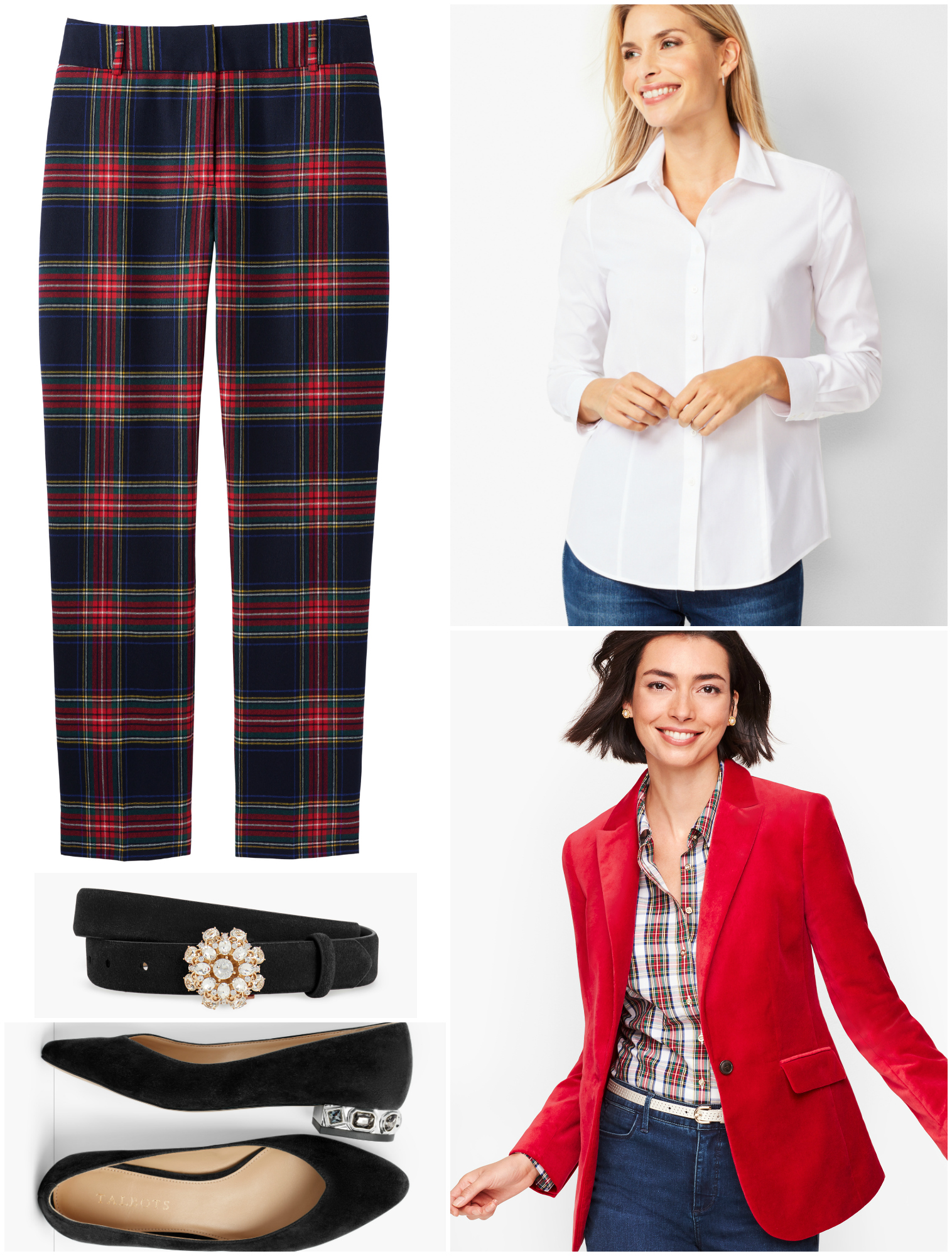 A festive pantsuit is created by adding a red velvet blazer.  Push up the sleeves and unbutton the first two buttons of the shirt for a more relaxed vibe.