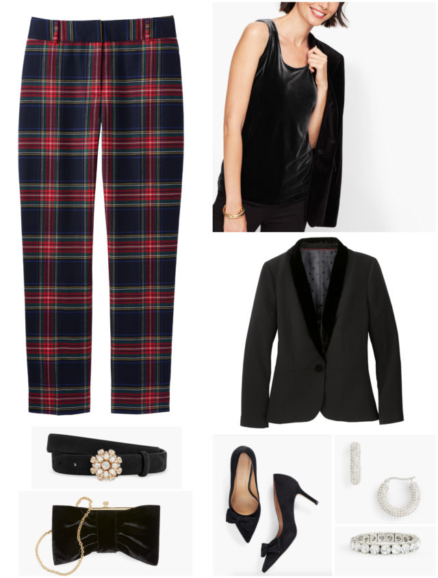 Plaid goes glam when paired with a velvet tank and tuxedo jacket with velvet lapels. Sparkly crystal jewelry and a velvet clutch finish the look.