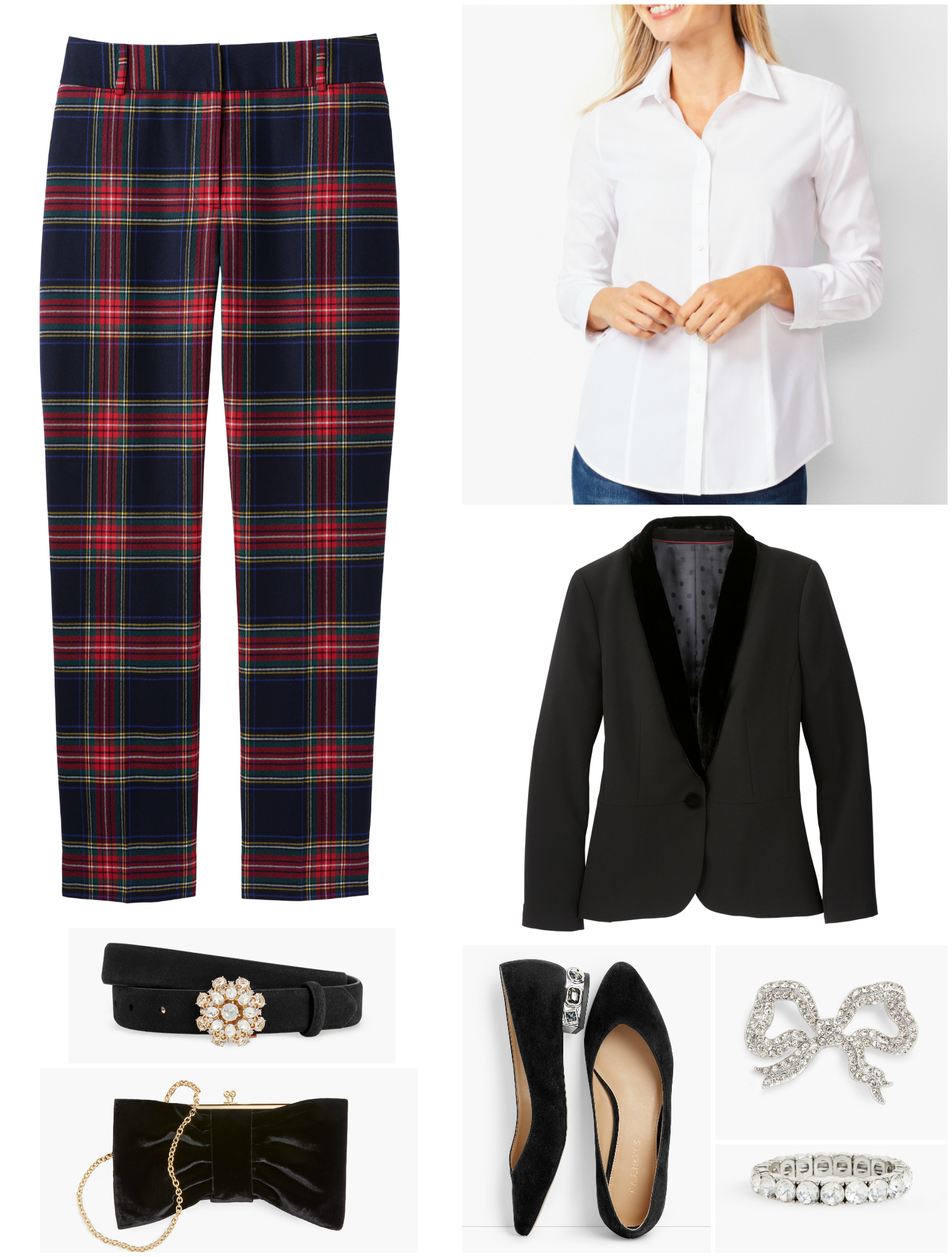 By switching out the pumps and velvet tank for a crisp white shirt and embellished flats, the plaid pants still look elegant but not as formal.