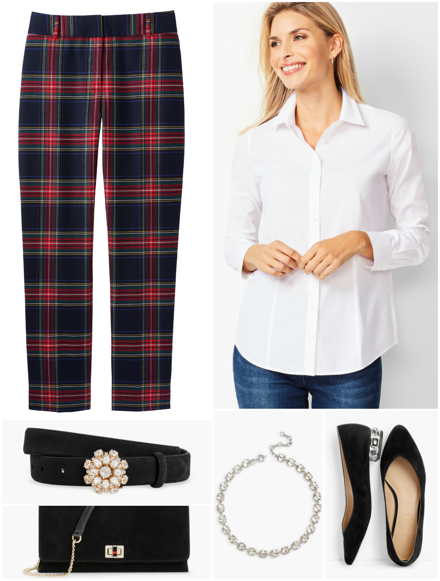 Plaid pants with a white shirt is classic, chic, and incredibly versatile.  With luxe accessories, this is perfect for a holiday party.  Remove the necklace and add a cardigan for the office.