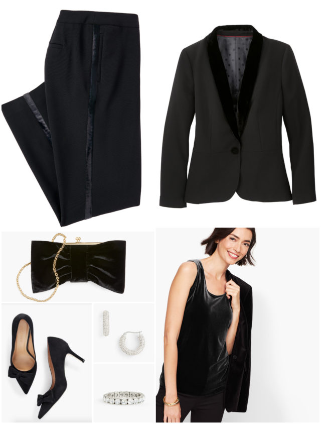 Elegant and formal, the lady tux or cocktail pantsuit is a perfect holiday choice. With a velvet tank, you have enough subtle shine to keep jewelry toa minimum.