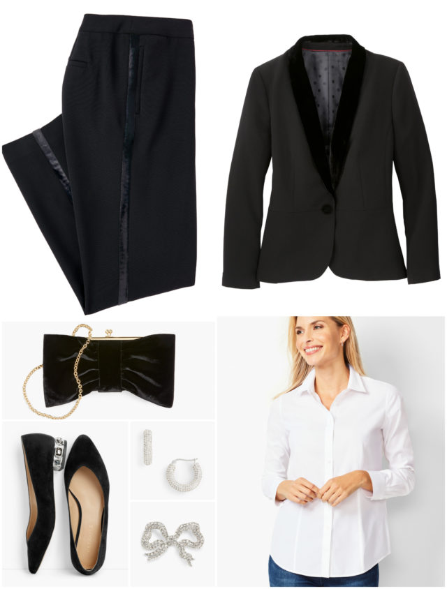 By switching out the velvet tank for a white shirt, you create a look that is more menswear-inspired but just as elegant. Button up the shirt and pin the brooch at the top to replicate a bow tie.