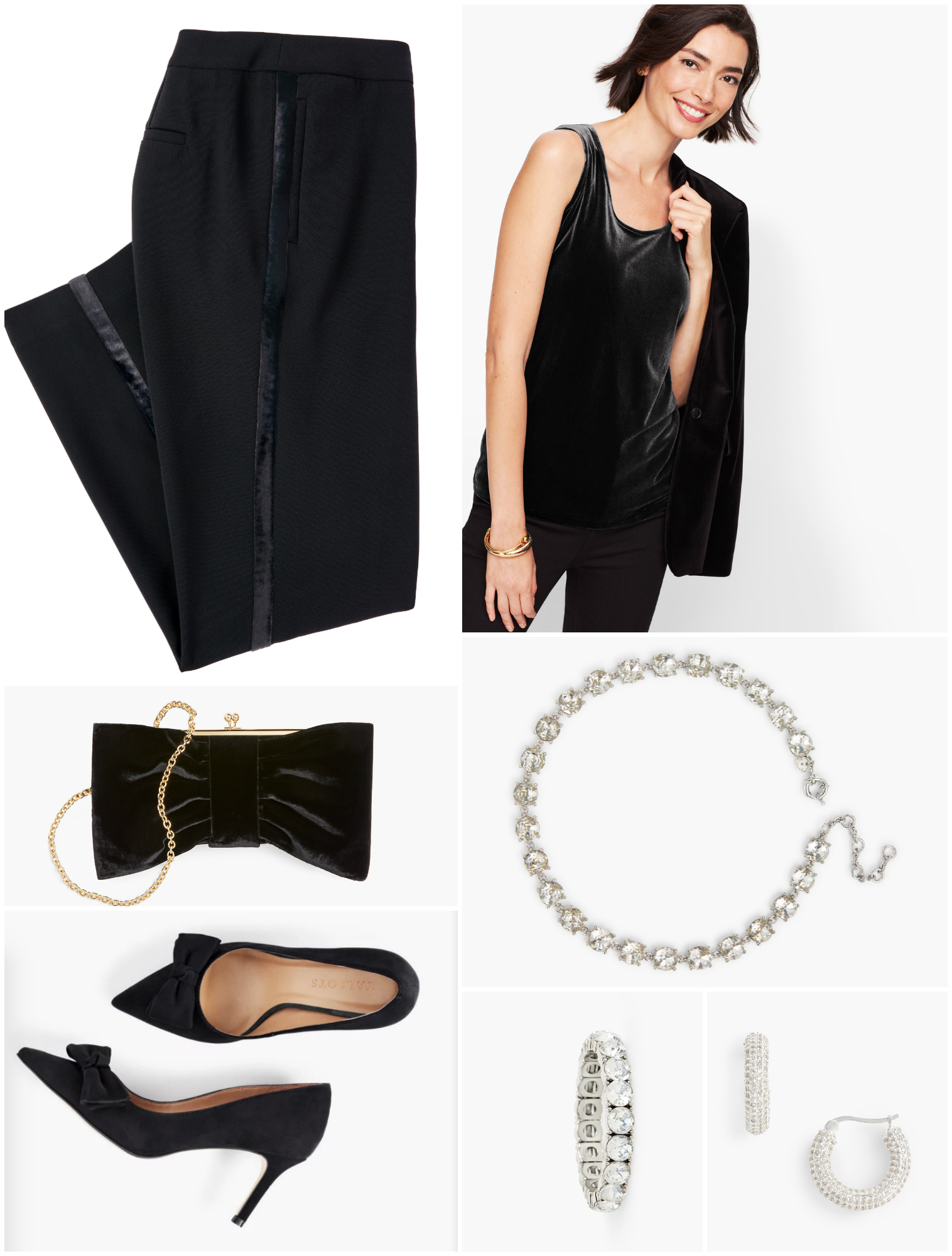 With great-fitting tuxedo trousers and a soft velvet tank with drape, it's a complete look without a jacket.  Add plenty of sparkly crystal jewelry and heels for formality.