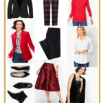 collage of clothing from Talbots to create a holiday capsule wardrobe