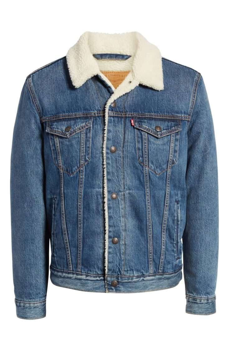 Levi's Faux Shearling Trim Denim Trucker Jacket