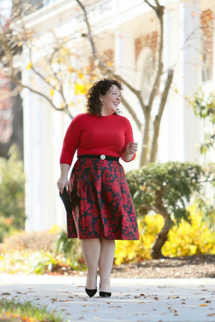 petite talbots skirt red floral