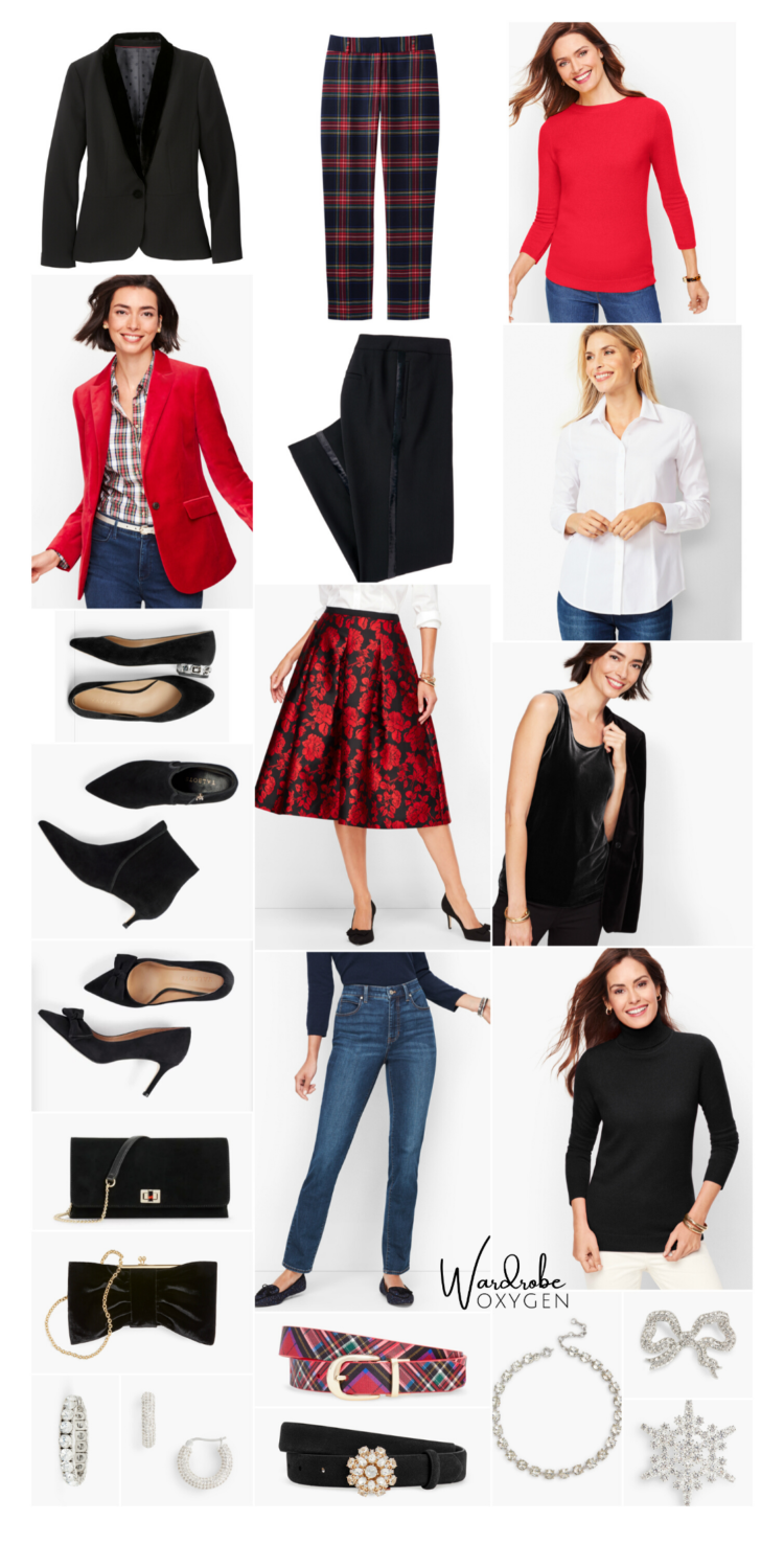 collage of clothing for a holiday capsule wardrobe created from Talbots fashion