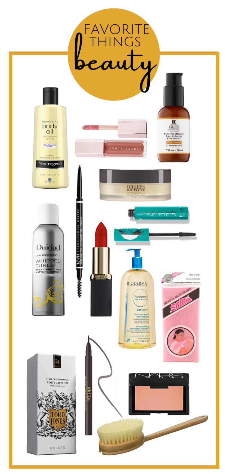 collage of beauty products mentioned in alison's favorite things