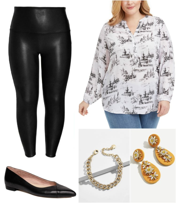 how to style faux leather leggings with a tunic