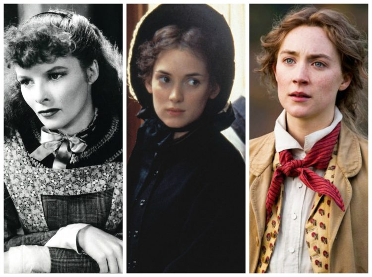 jo march played by katharine hepburn, winona ryder, and saoirse ronan