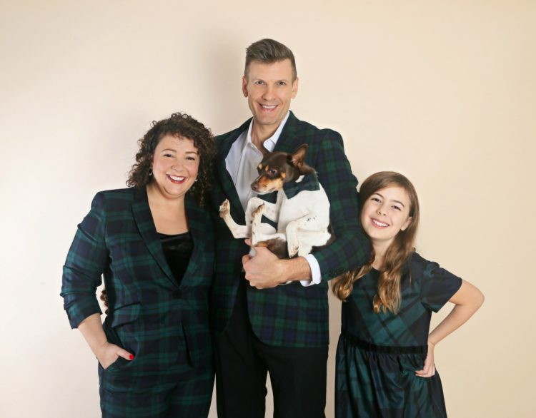 wardrobe oxygen holiday card 2019 in black watch plaid from talbots