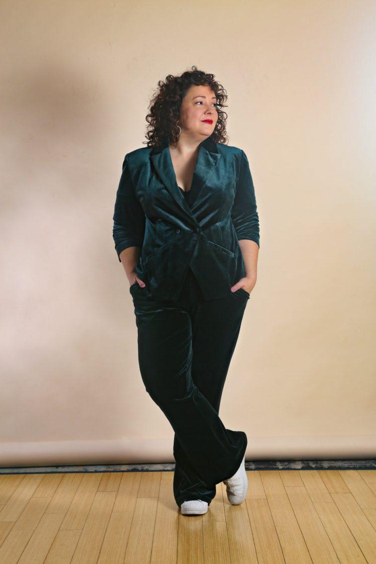 Universal Standard green velvet pantsuit as seen on Alison Gary of Wardrobe Oxygen