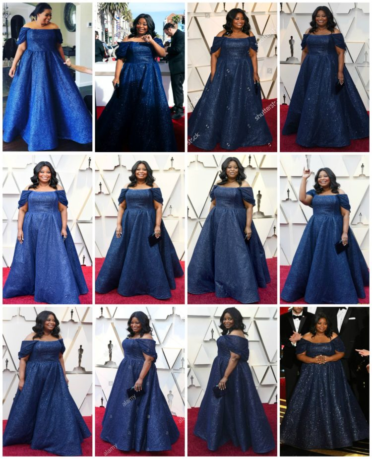 Collage of Octavia Spencer at the 2019 Academy Awards in an Oscar gown designed by Christian Siriano