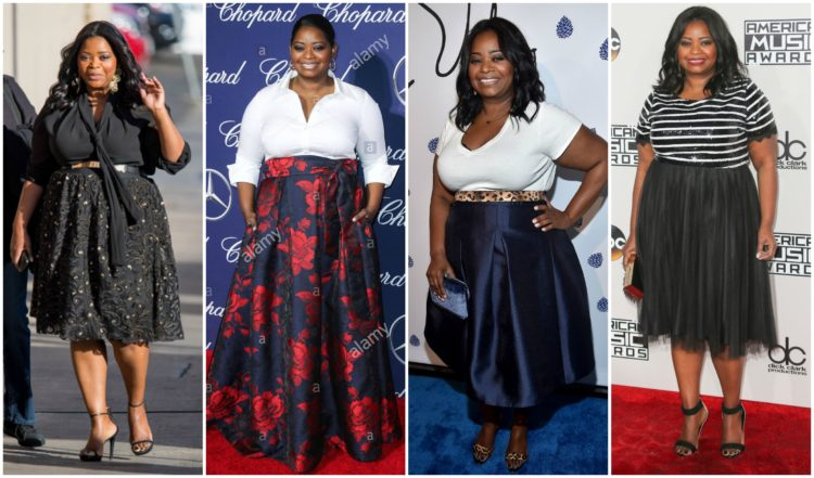 Octavia Spencer in two-piece skirt outfits