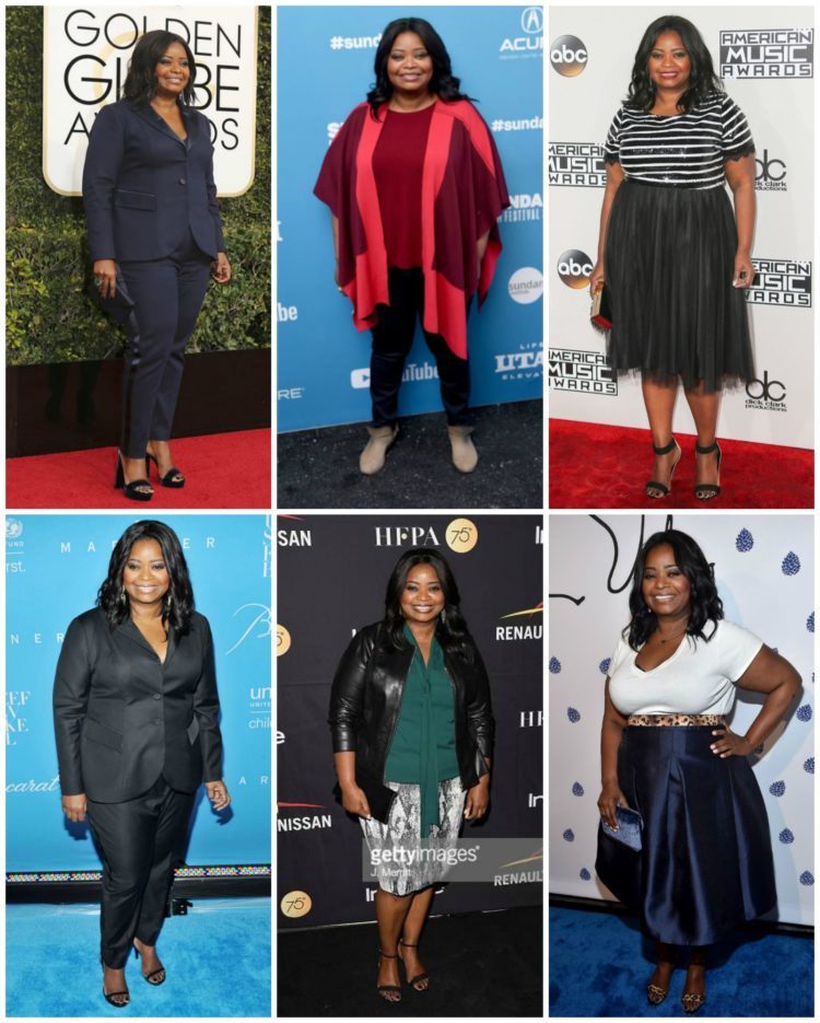 Some of Octavia Spencer's fashion looks from 2018 and 2019