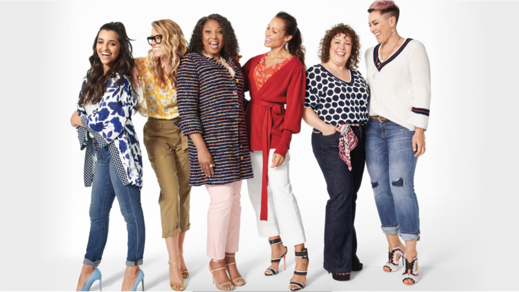 seven women wearing cabi spring 2020 including alison gary of wardrobe oxygen