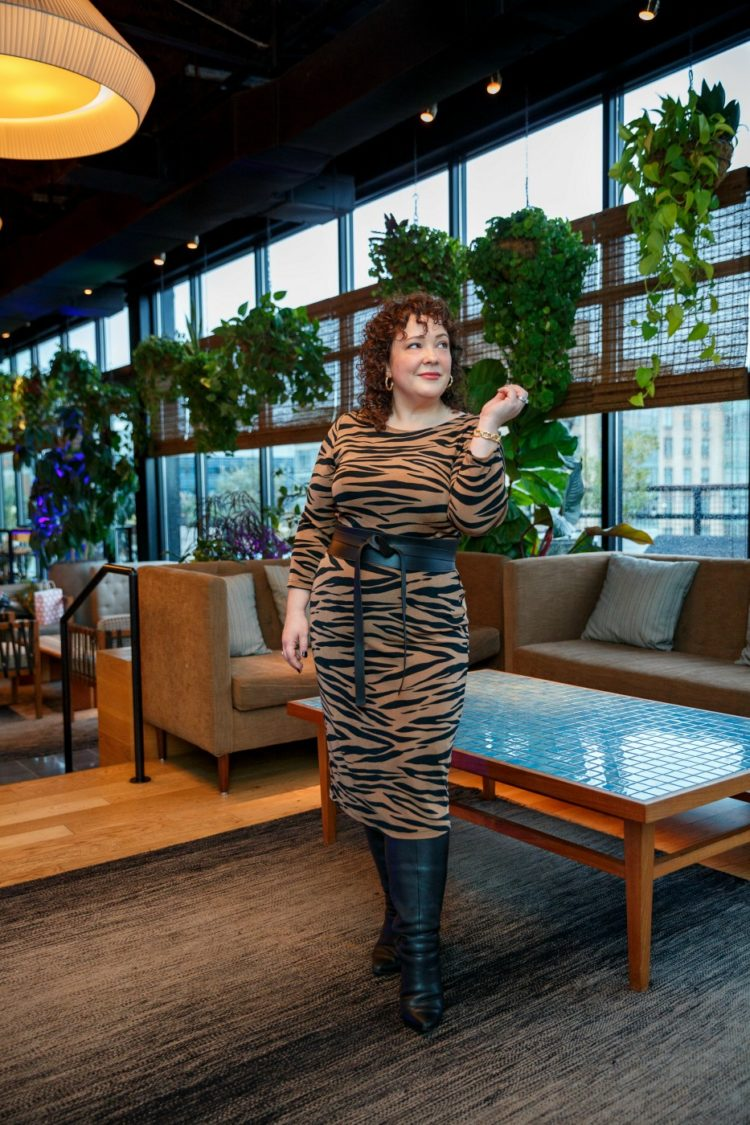 Wardrobe Oxygen in a tiger print belted dress from Chico's Safari Chic collection