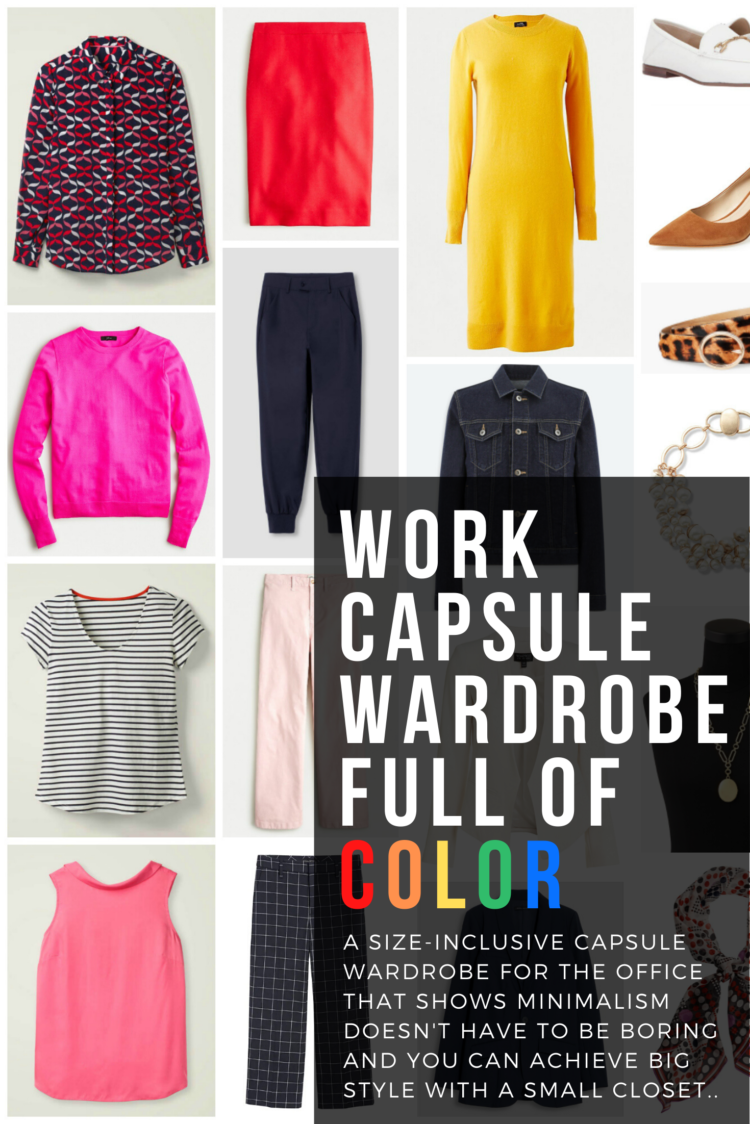 work capsule wardrobe with color