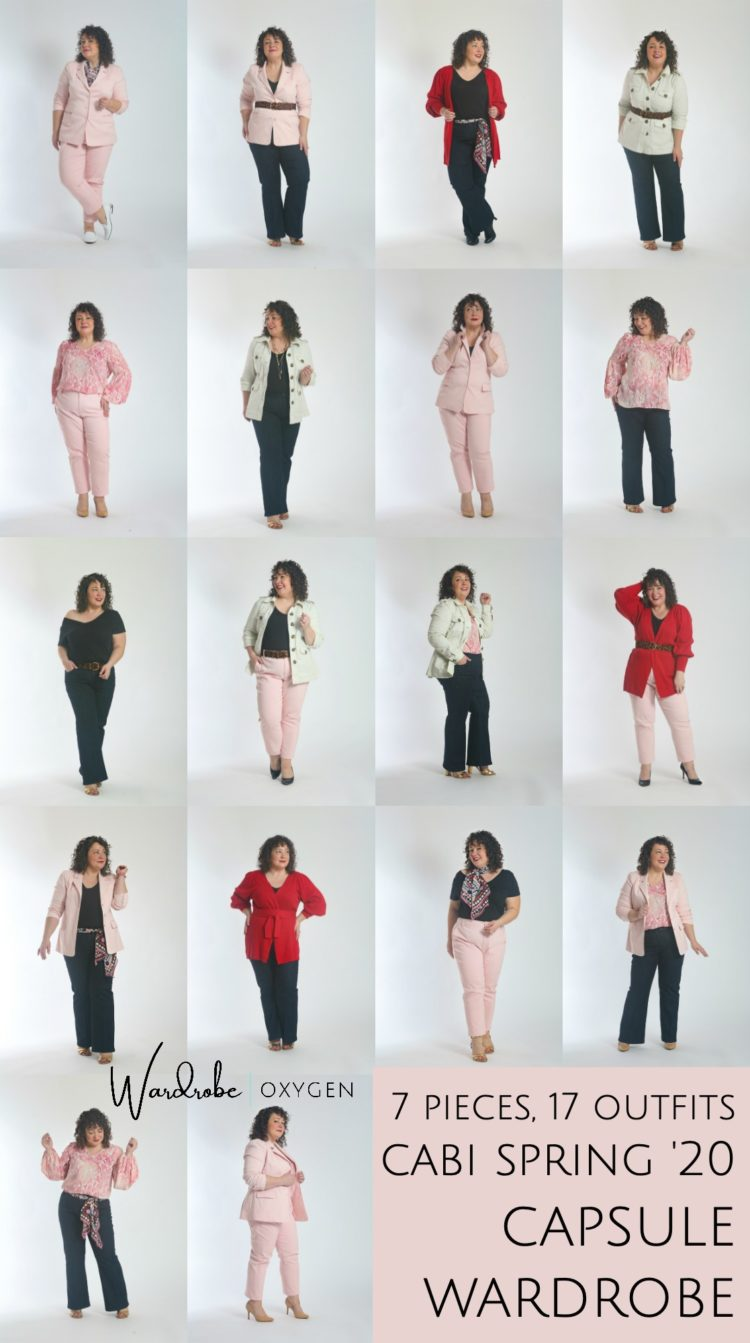 a spring capsule wardrobe by Wardrobe Oxygen: 7 pieces and 18 looks from cabi