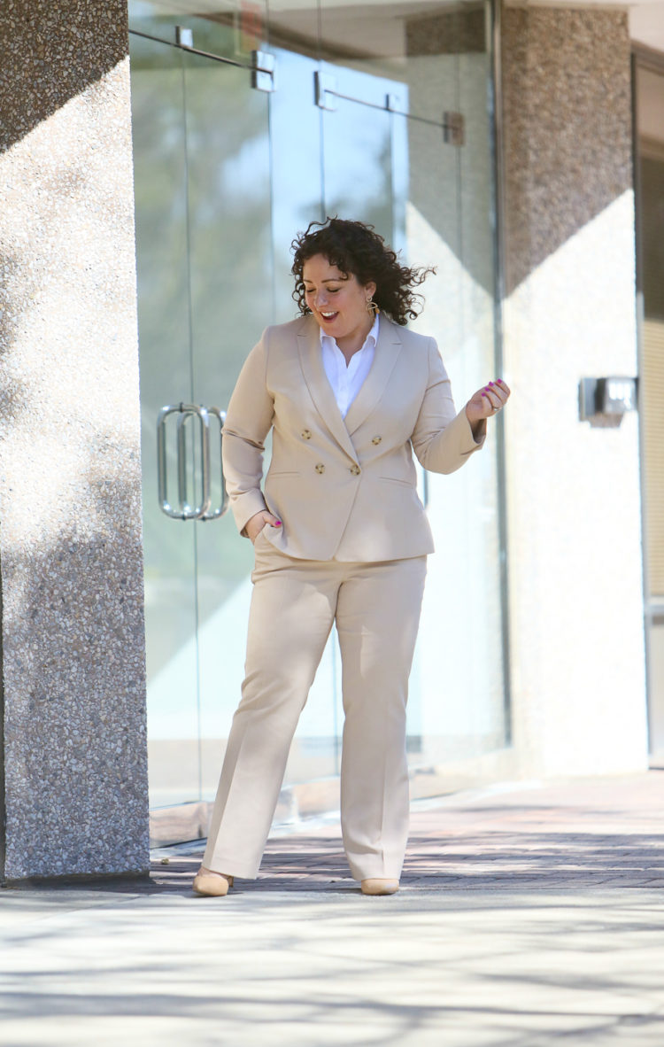 Wardrobe Oxygen in a Talbots double breasted petite pantsuit with white shirt and nude pumps