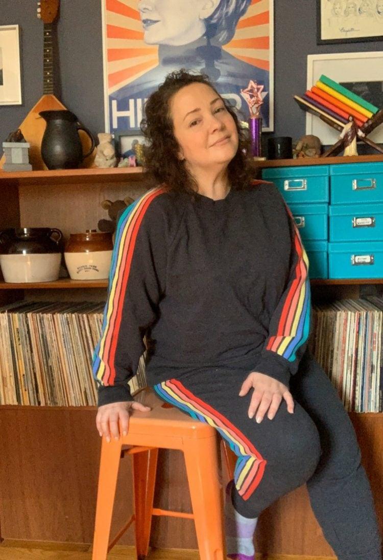 rainbow stripe sweatsuit