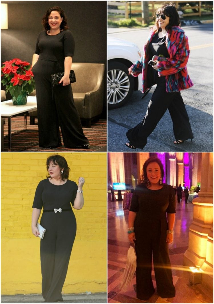 how to style a black jumpsuit multiple ways