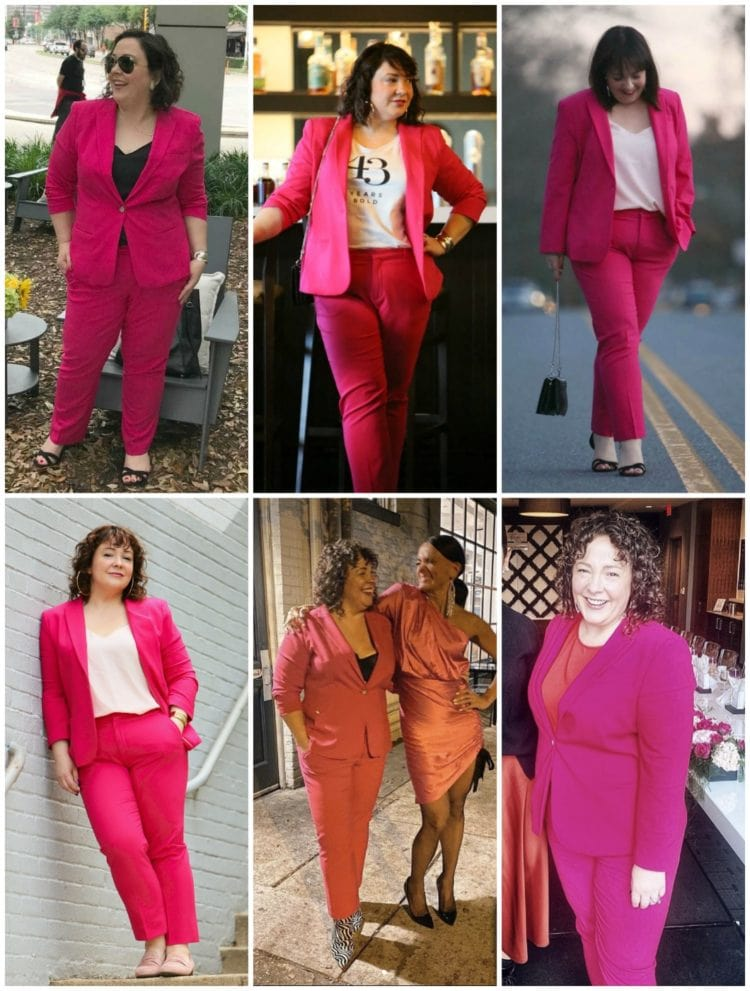 how to style a pink pantsuit