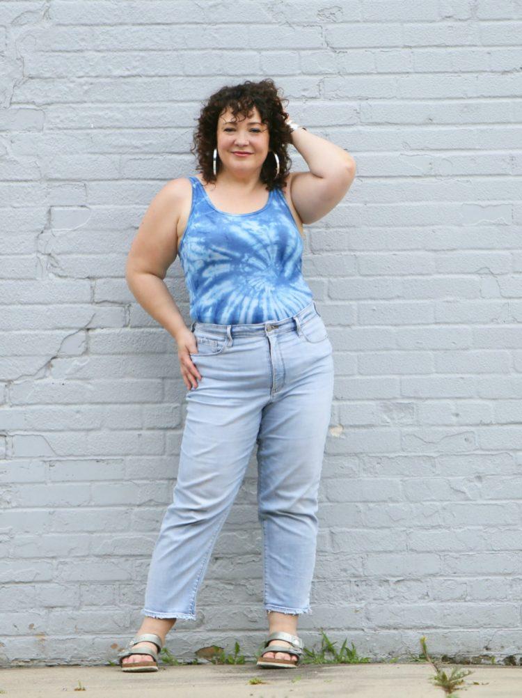 Wardrobe Oxygen in Athleta Jeans and a tie dye tank top