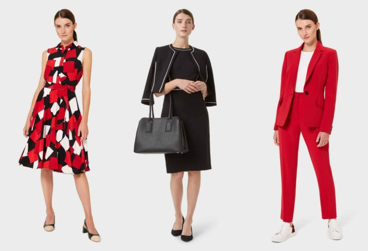 three images of women wearing black and white and red conservative feminine fashion from Hobbs London