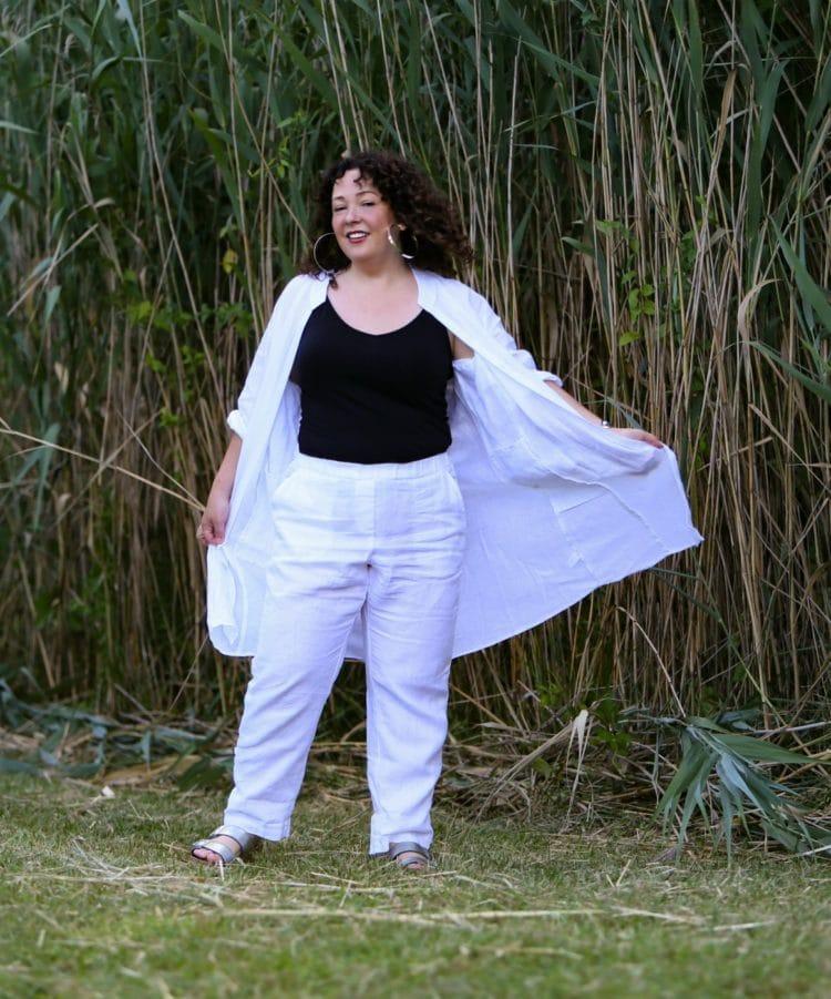 white linen elastic waist pants jjill