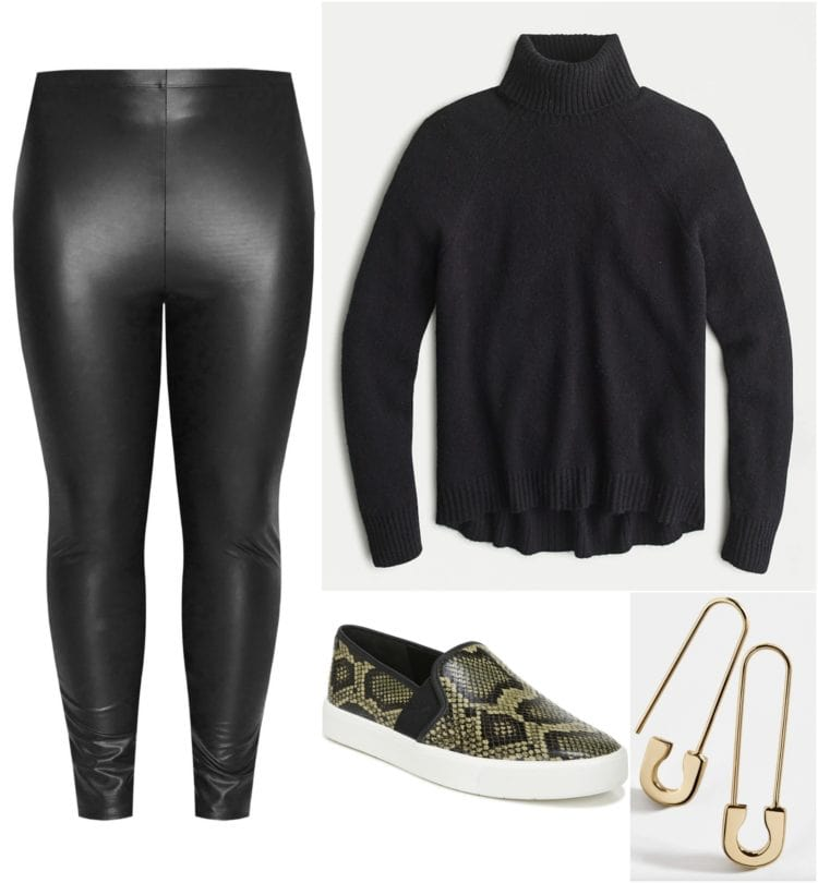 how to style faux leather leggings for winter