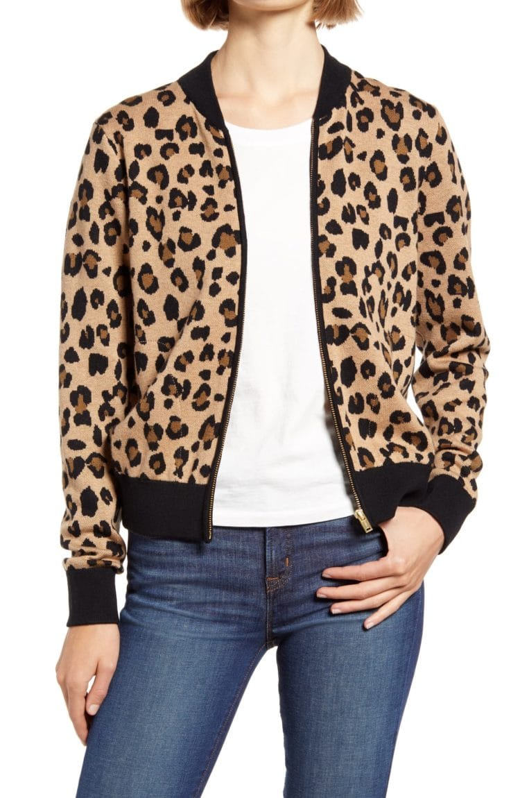 j. crew leopard bomber sweater jacket