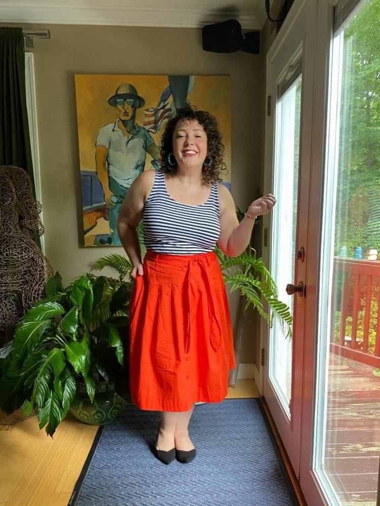 wardrobe oxygen wearing a talbots poplin skirt