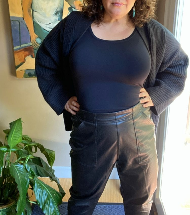 faux leather joggers spanx review petite
