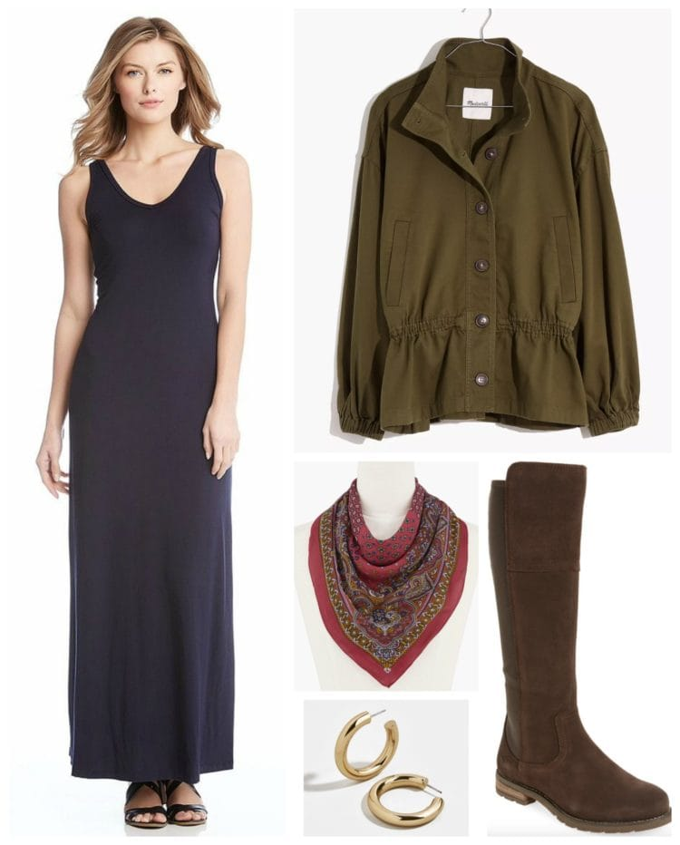 how to style a tank maxi dress for fall and winter