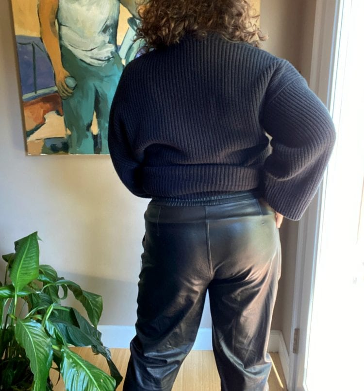 spanx leather like joggers back view