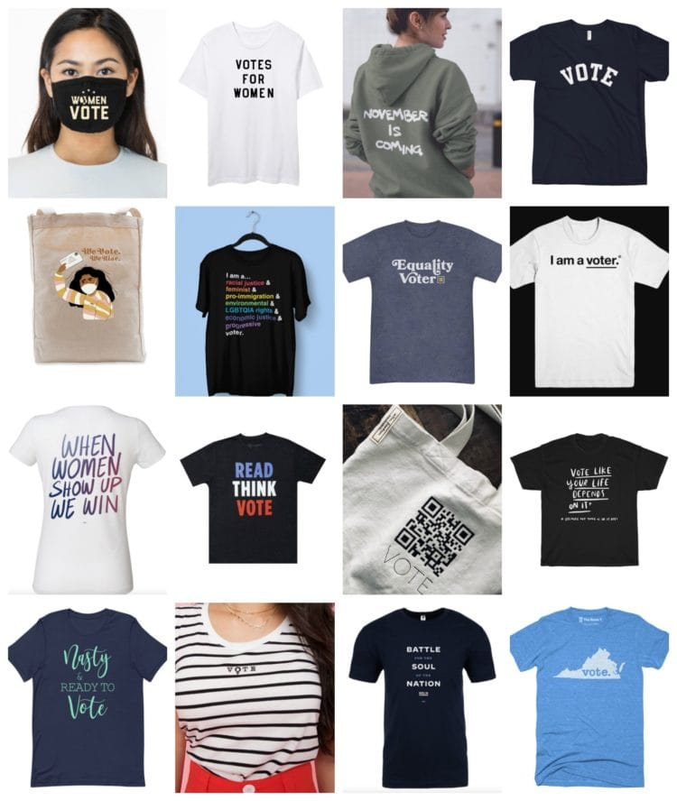 voting merchandise that gives to charity